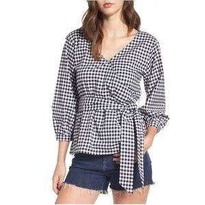 LOVE FIRE Gingham Wrap Blouse